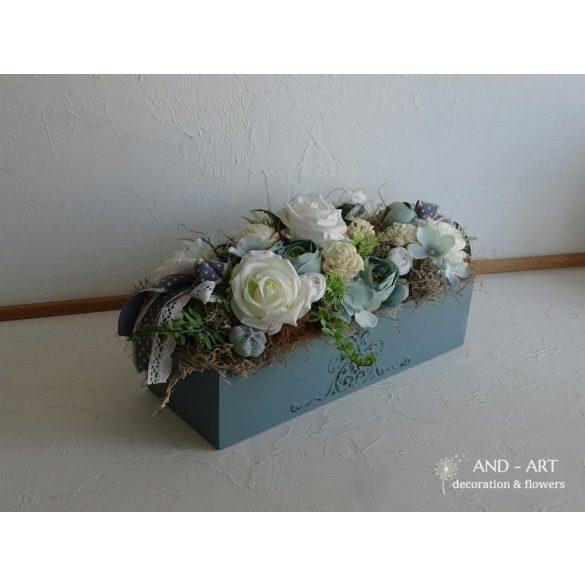 Vintage kék asztaldísz esküvői dekoráció otthon dísz.