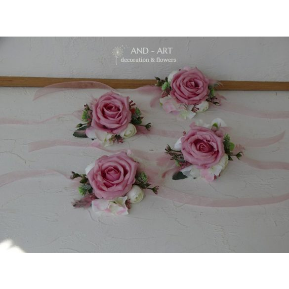 Mallow pink wrist set, wedding corsage, Wrist corsage