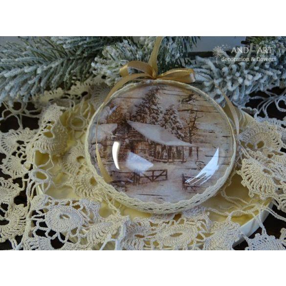 Vintage karácsonyfa dísz-kézműves termék.