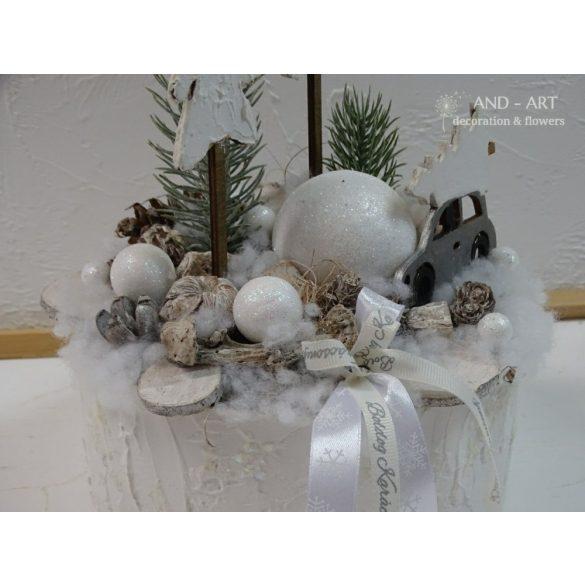 Téli-adventi dekoráció, asztaldísz.