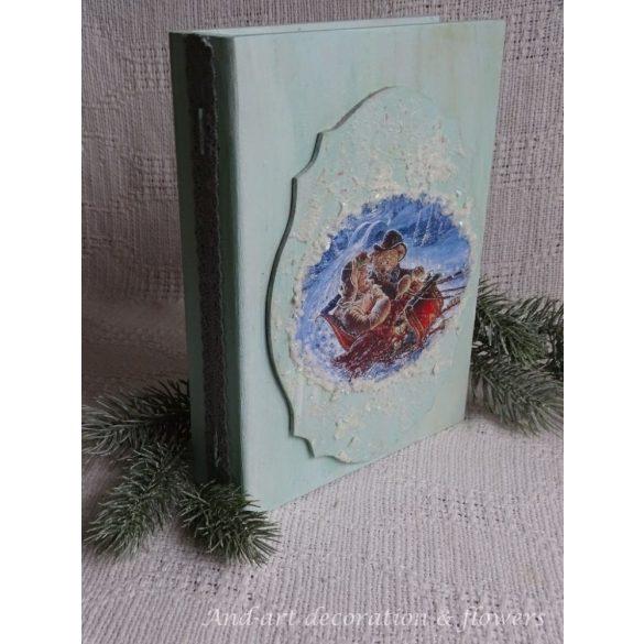 Világos kék macis fa könyvdoboz