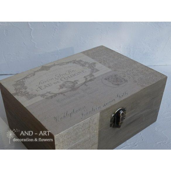 Kézzel festett barna árnyalatú decoupage doboz,tároló doboz, ékszertartó