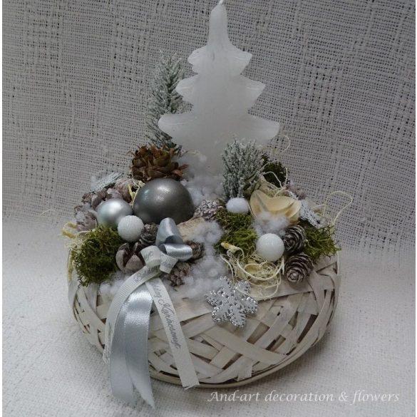 Hófehér téli asztaldísz