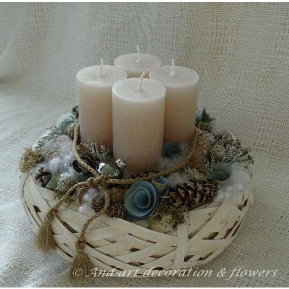 Téli elegancia- Adventi asztaldísz,adventi koszorú.