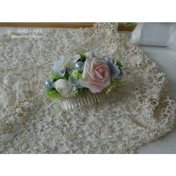 Pasztell árnyalatú hajfésű-menyasszonyi hajdísz