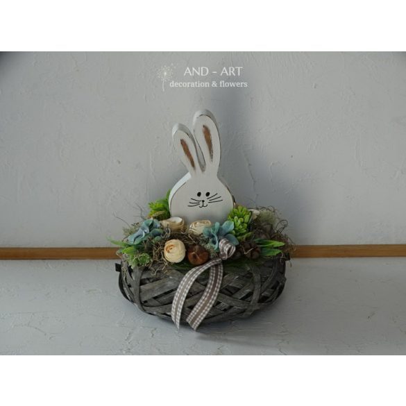 Nyuszis - tavaszi asztaldísz, Tavaszi dekoráció, húsvéti dekoráció.