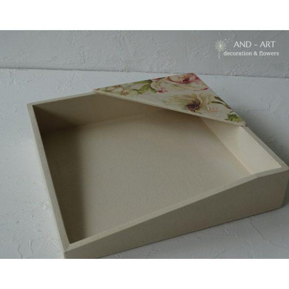 Virágmintás-egyedi szalvétatartó négyzet alakú-asztali.