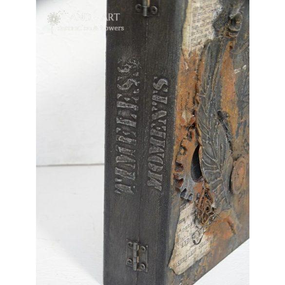 Időtlen, steampunk hatású tároló, könyv doboz.