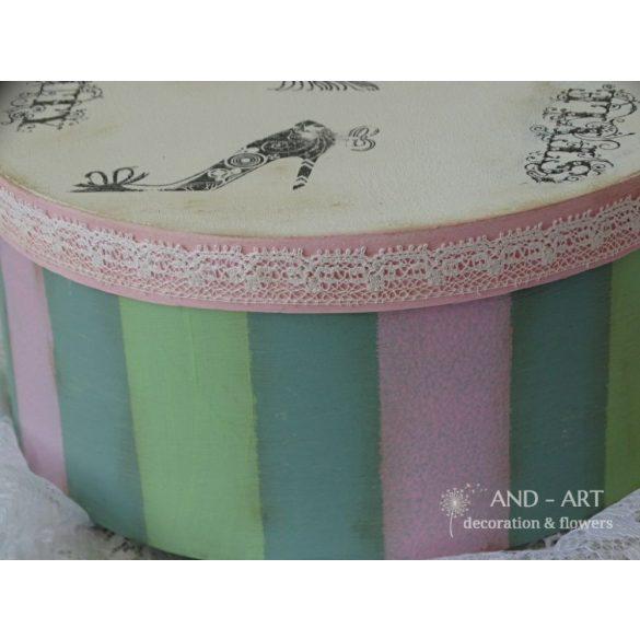 Három színű csíkos kerek tároló doboz  trendi csajos mintával