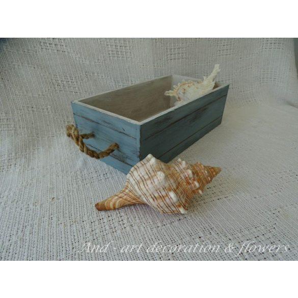 Koptatott hatású zsinóros tároló doboz-láda-választható színben.
