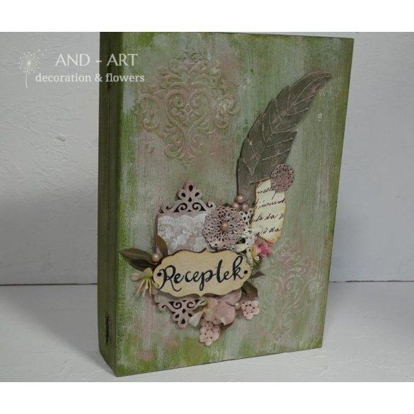 Vintag stílusú- kézzel festett- több féle kreatív technikával díszített zöld színű tároló könyvdoboz