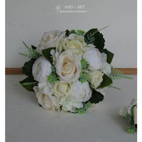 Menyasszonyi csokor-dobócsokor romantikusoknak. Vőlegény kitűzővel.
