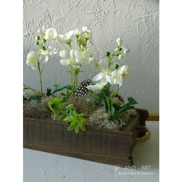 Tavaszi dekoráció, asztaldísz farmhouse stílusban.
