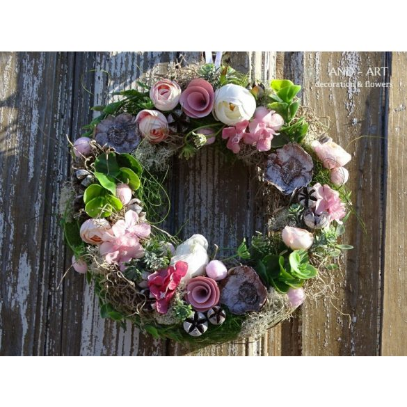 Roses-Tavaszi ajtódísz, kopogtató.