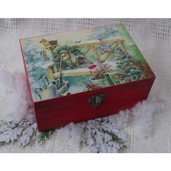 Mesés téli táj- tároló doboz, ajándékátadó.