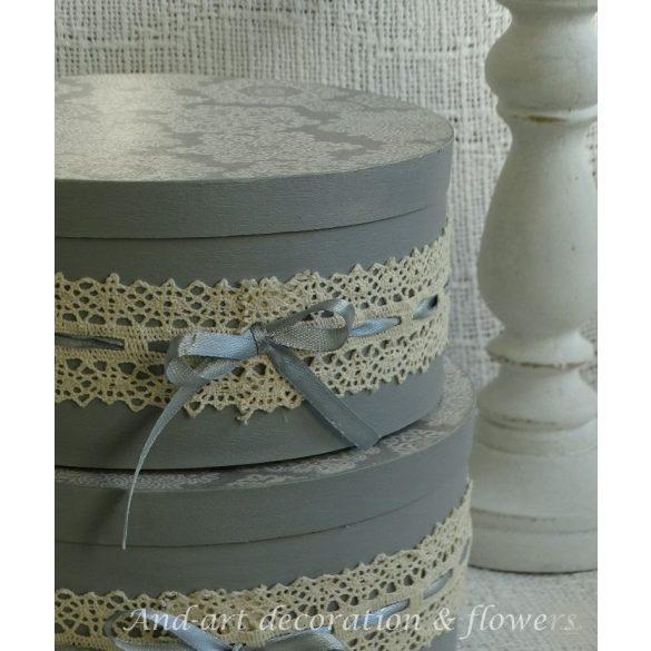 Pasztell szürke romantikus tároló, doboz, esküvői ajándékátadó