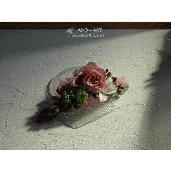 Mallow pink headpiece, wedding hair decoration, hair comb